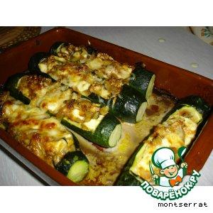 Рецепт: Кабачки, фаршированные сыром и орехами