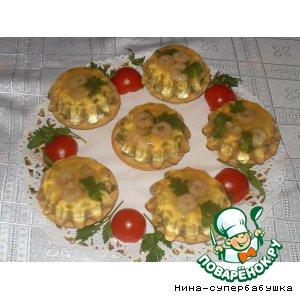 Рецепт: Заливные корзиночки с креветками