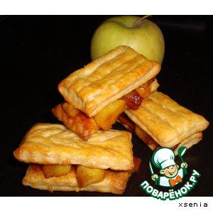 Рецепт: Слойки с карамелизиованными яблоками