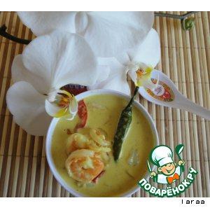 Рецепт: Суп на кокосовом молоке с креветками