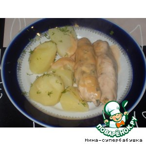 Рецепт: Колбаски из куриного фарша и сельдерея