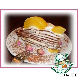 Рецепт: Блинный шоколадный торт с персиковым кремом