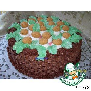 "Рецепт: Торт ""Корзинка с грибами"""