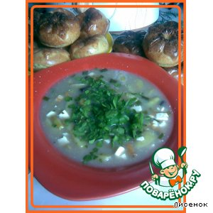 Грибной суп с зеленой фасолью и сыром из пароварки