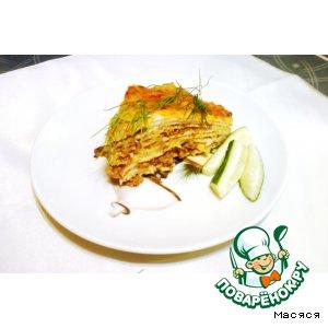 Рецепт: Блинный пирог а-ля лазанья