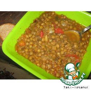 Рецепт: Суп из зеленой чечевицы