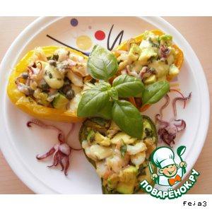 Рецепт Печеная паприка, фаршированная авокадо с морепродуктами