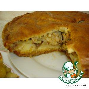 Рецепт: Пирог с курицей, картофелем и луком