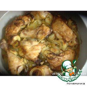 Рецепт: Печeная курица с луком, чесноком и розмарином