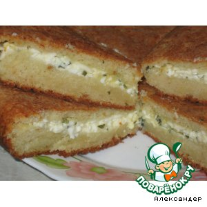 Рецепт: Пирог с сыром на творожном тесте