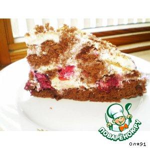Рецепт: Нежный торт с вишней Полосатик