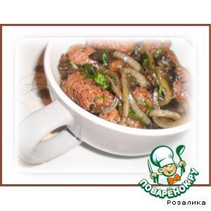 Рецепт: Кебабы жаренные с грибами шиитаке и луком