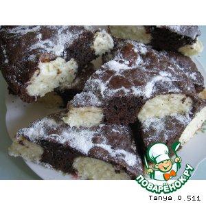 Рецепт: Шоколадный пирог с творожно-кокосовыми шариками