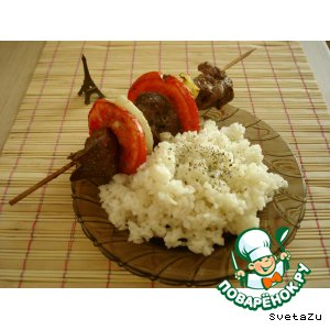 Рецепт: Куриная печень на вертеле с прованскими травами