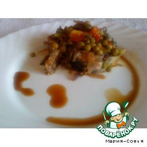 Рецепт: Скумбрия с зеленым горошком