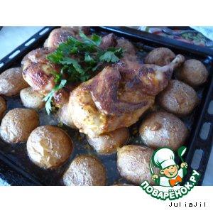 Рецепт: Курица, запечeнная с картофелем