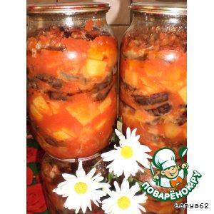 Рецепт Баклажаны с картофелем в томатном соусе