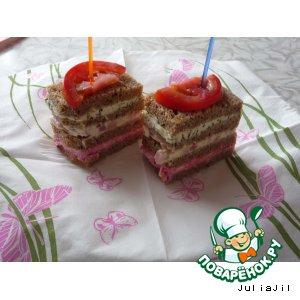 Рецепт: Полосатые бутерброды