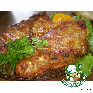 Рецепт: Свиные ребра в медово-чесночном соусе