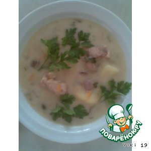 Рецепт: Суп-соус с курицей, печенью и грибами
