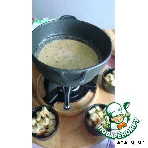 Рецепт: Сырное фондю с сухариками