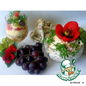"""Рецепт: Салат """"Красный цветок"""""""