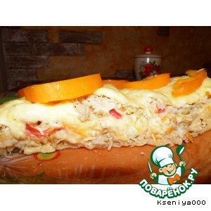 Рецепт: Слоeный куриный пирог из лаваша А-ля лазанья