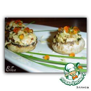 Рецепт: Шампиньоны, фаршированные креветками