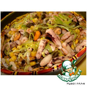 Рецепт: Салат с морепродуктами по-испански