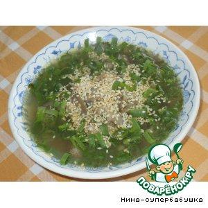 Рецепт: Суп с говядиной и рисовой вермишелью по-корейски