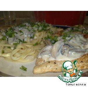 Рецепт: Куриные эскалопы в сливочно-грибном соусе и спагетти