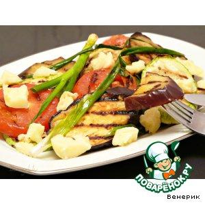 Рецепт: Жареные овощи с козьим сыром