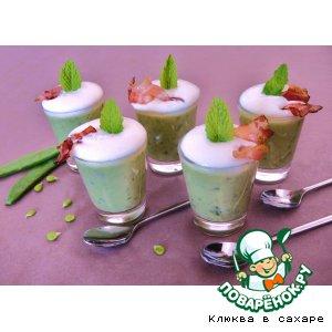 Рецепт: Зелeный суп-капучино Принцесса на горошине