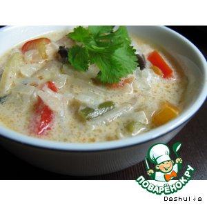Рецепт: Овощной суп на кокосовом молоке