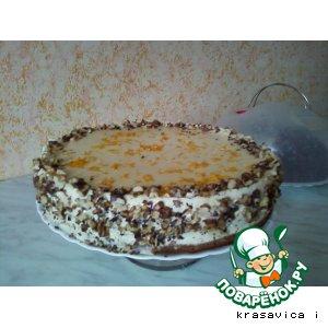 Рецепт: Торт апельсиновый  с маскарпоне и грецкими орехами