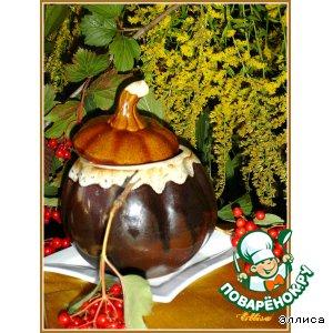 """Рецепт: Тефтели с сюрпризом, запеченные с баклажанами и грибами """"Танец осени"""""""