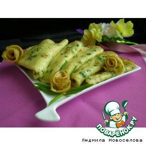 Рецепт: Блинчики с зелeным луком