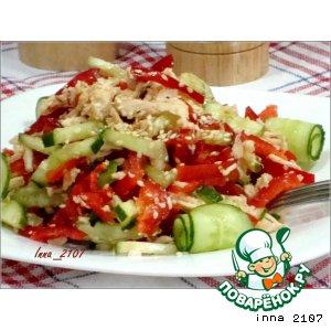 Рецепт: Салат из куриной грудки с огурцами