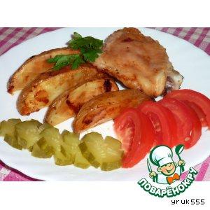 Рецепт: Печeная картошка с курицей