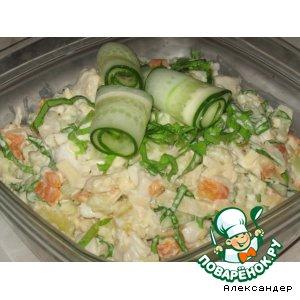 Рецепт: Салат с отварной рыбой и овощами