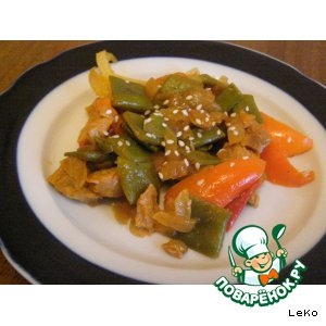 Рецепт: Соевое мясо с овощами