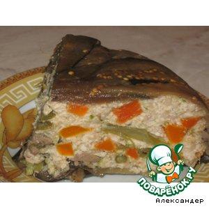 Рецепт: Баклажановый террин с куриным фаршем и овощами