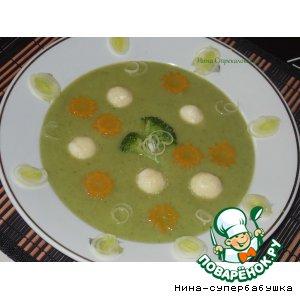 """Рецепт: Суп-крем с творожными шариками """"Зеленая полянка"""""""