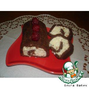 Рецепт: Рулет из шоколадных шариков с творогом