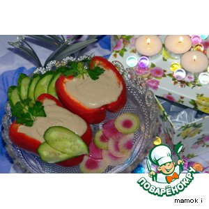 Рецепт: Перец фаршированный печенью минтая с белой фасолью