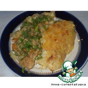 Рецепт: Жаркое с грибами под картофельной чешуей