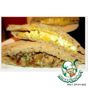Рецепт: Сэндвичи с грибами и салатом из яиц