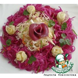 Рецепт: Народная закусочка из квашеной капусты