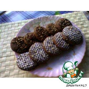 Рецепт: Печенье шоколадное с изюмом и орехами