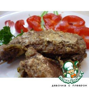 Рецепт: Печень говяжья, томленная в сливках